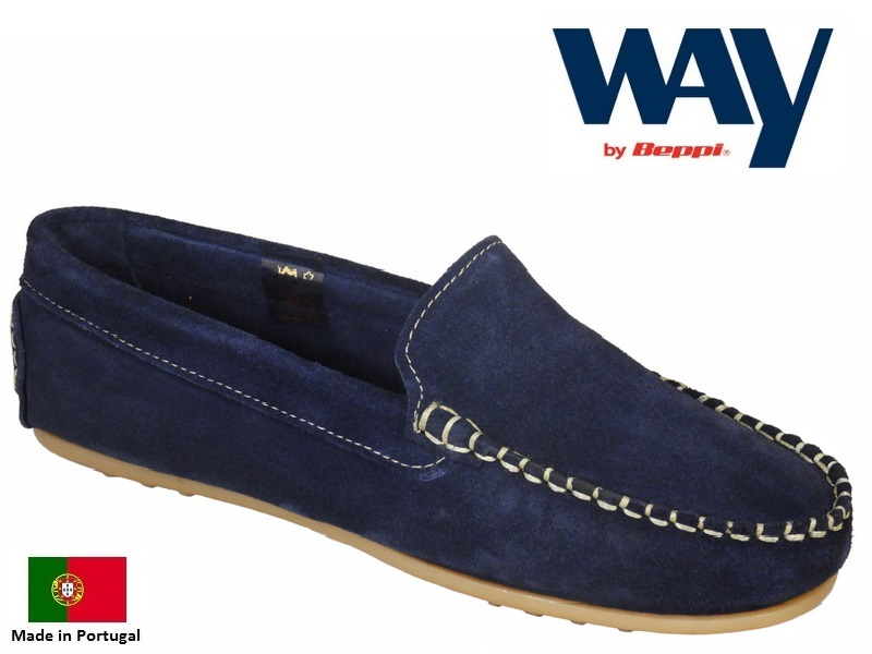 Beppi Ladies Quality Portuguese Leather Boat Shoes Navy//Blue