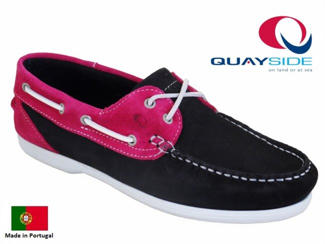 Quayside Bermuda Quality Boat Shoes in Navy/Fuchsia