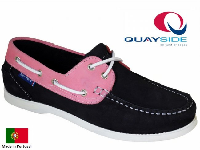 Alderney Quality Boat Shoe in Navy Pink
