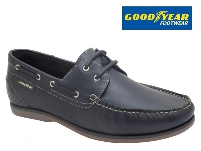 Goodyear Clipper Navy Leather Mens Boat Shoes