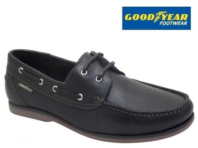 Goodyear Clipper Black Leather Mens Boat Shoes
