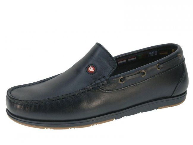Mens Leather Loafer Slip On Boat Shoe Navy