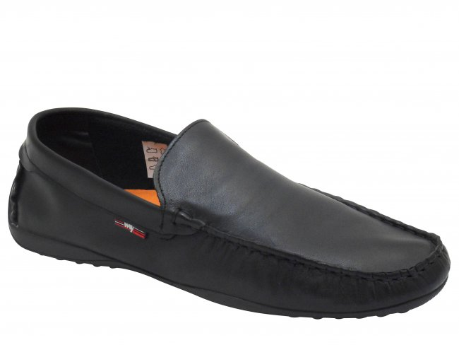 Marina Black Slip On Deck Mens Boat Shoes. FREE DELIVERY