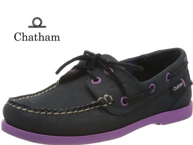 Ladies Chatham Pippa G2 Boat Shoes Navy/Purple
