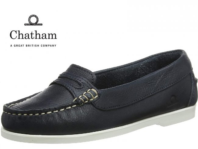 Chatham Sally Navy Slip On Womens Boat Shoes