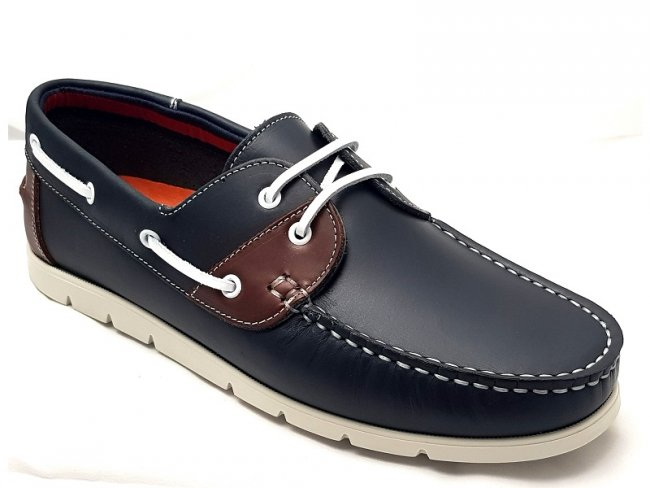 Quality Mens Navy Leather Lightweight Boat Shoes