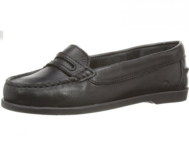 Chatham Sally Black Slip On Womens Boat Shoes
