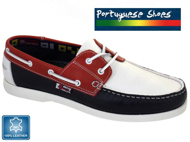 Mens Red White Blue Laced Boat Shoe