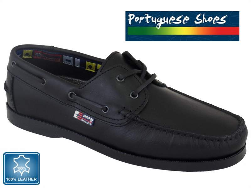Mens Portuguese Black Leather Boat Shoes