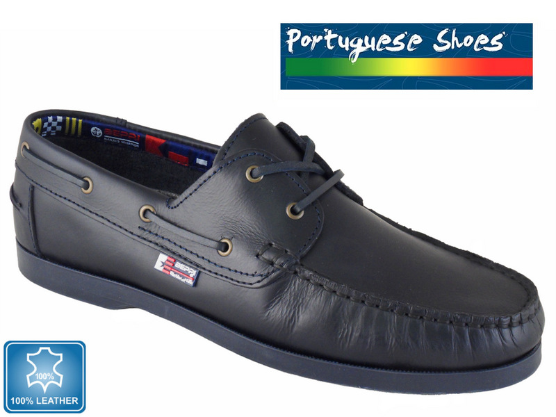 Dark Navy Leather Boat Shoes