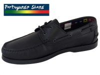 Mens Portuguese Black Leather Boat Shoes
