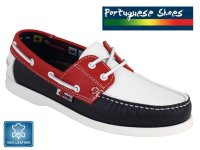 Quality Leather Womens Boat Shoes Red/White/Blue