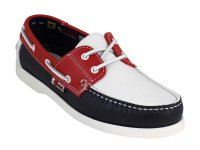 Quality Leather Boat Shoes in Red/White/Blue